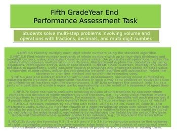 5th grade Year end Performance task