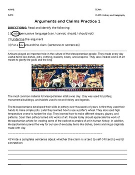 5th grade argument and claim HW