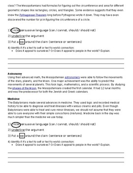 5th grade argument and claims HW