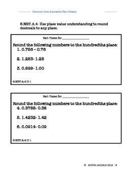 5th Grade Math Common Core aligned exit ticket answer key
