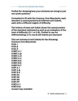 5th Grade Math Common Core aligned exit tickets