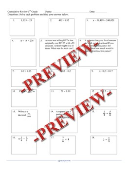 5th grade cumulative end of the year review (18 problems)