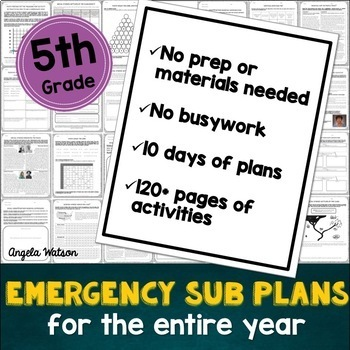 Fifth grade sub plans: EVERYTHING you need for 10 days of absences