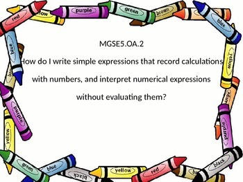 5th grade math Essential Questions GSE