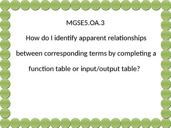 5th grade math  Essential Questions G.S.E. Green dot.