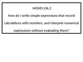 5th grade math Essential Questions GSE black-line border