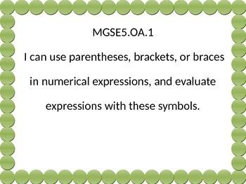 5th grade math I can statements Green Dot