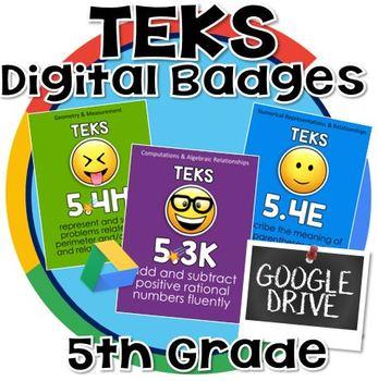 5th grade math TEKS - Digital Badges for Google Drive