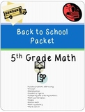 5th grade math back to school packet