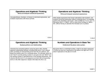 5th grade math common core cards