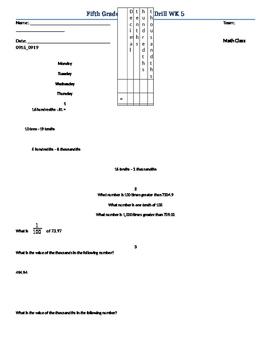 5th grade math drill