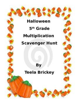 5th grade multiplication Halloween scavenger hunt