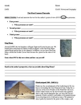 5th grade pharaohs pov worksheet