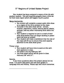 5th grade regions project