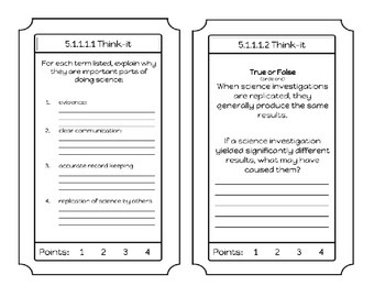 5th grade science Admit or Exit Tickets for student assessment