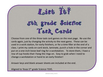 """5th grade science Year-In-Review """"List It"""" Task Cards"""