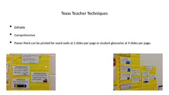 5th grade science academic vocabulary word wall power point