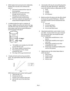 5th grade science cumulative multiple choice review