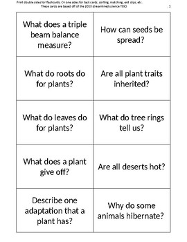 5th grade science review flashcards / task cards / exit slips / INB output