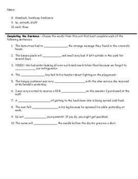 5th grade vocabulary unit