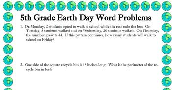 5th grade word problems about EARTH DAY