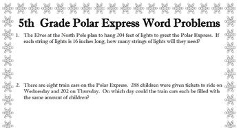 5th grade word problems about Polar Express