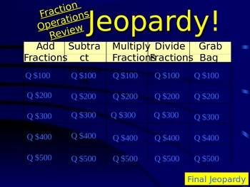 5th or 6th Grade Fraction Operations Jeopardy Review