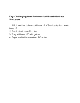 5th or 6th Grade Word Problems With Historical Theme and Key