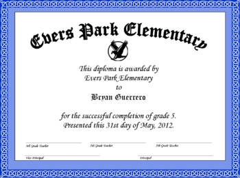 5th Or 8th Grade Graduation Diploma Looks Official By