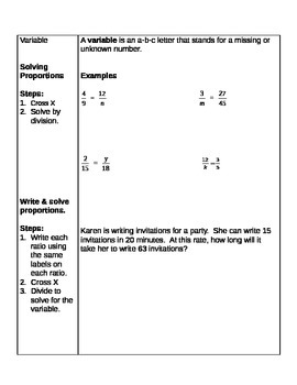 5th/6th Cornell Student Guided Notes Number Relations