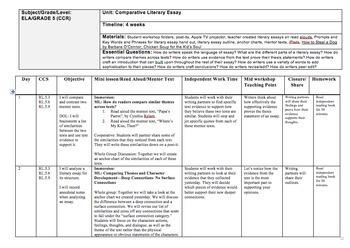 5th/6th Grade Comparative Literary Essay Unit