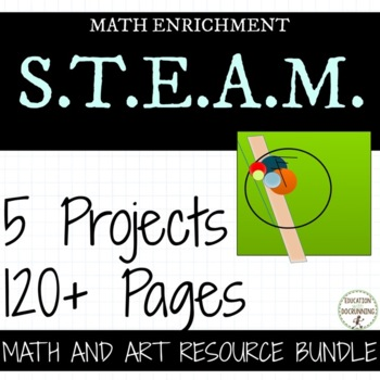 5th and 6th grade Math Art Project Bundle for middle school math concepts