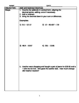 5th/6th Grade Math Cornell Style Guidance Notes (Numerical Relationships)