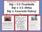 3 full days 5th/6th grade/U.S. Presidents, American History, U.S. States Themes