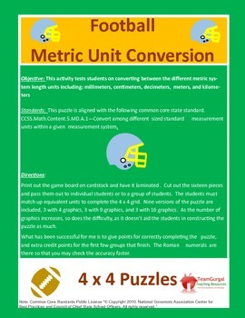 5th(Fifth) Grade Comm Core- Football Metric System Length Unit Conversion Puzzle