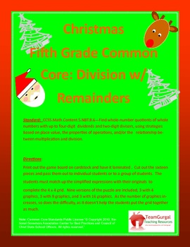 5th(Fifth) Grade Common Core- Christmas Division Whole Num