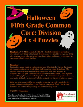 5th(Fifth) Grade Common Core- Halloween Division Whole Number and Remainders