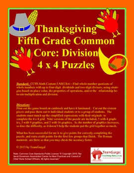 5th(Fifth) Grade Common Core- Thanksgiving Division Whole