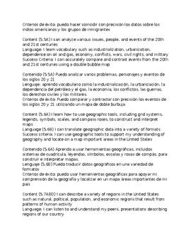 5thGrade-Bilingual Social Studies Content & Language Objectives aligned to TEKS