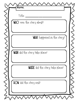 5ws (Who what when where why/how) Reading Comprehension Questions