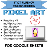 5x Multiplication Pixel Art! Digital Practice for Math Facts with Secret Reveal!