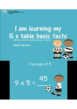 5 TIMES TABLE TABLES SOCCER POWERPOINT FUN