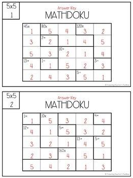 5x5 Mathdoku Math Puzzles