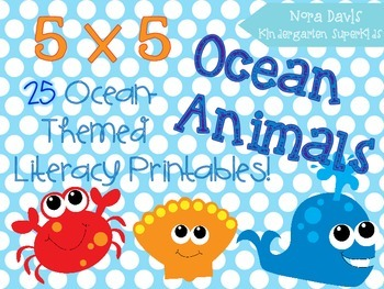 5x5 Ocean Animals Literacy Printables