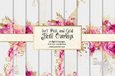 5x7 Pink and Gold Floral Overlays, clipart, glitter digital paper