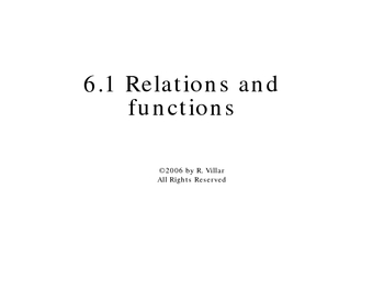 6-1 Relations and functions