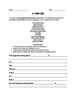 6 + 1 Traits Morning Work Assessment: Ideas & Organization