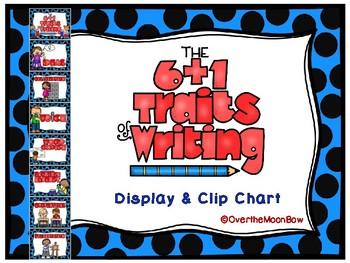 6 + 1 Traits of Writing Displays & Clip Chart   Blue & Black
