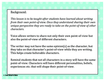 6+1 Traits of Writing-Voice (Point-Of-View Lesson 3)