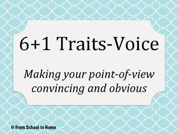 6+1 Traits of Writing-Voice (Point-Of-View Lesson 2)
